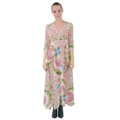 Pastel Pink Abstract Floral Print Pattern Button Up Maxi Dress