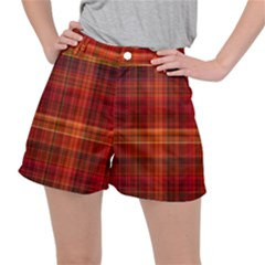 Red Brown Orange Plaid Pattern Ripstop Shorts