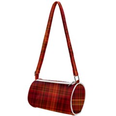 Red Brown Orange Plaid Pattern Mini Cylinder Bag