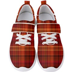 Red Brown Orange Plaid Pattern Men s Velcro Strap Shoes by SpinnyChairDesigns