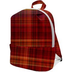 Red Brown Orange Plaid Pattern Zip Up Backpack