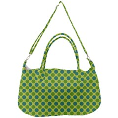 Green Polka Dots Spots Pattern Removal Strap Handbag by SpinnyChairDesigns