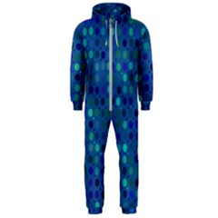 Blue Polka Dots Pattern Hooded Jumpsuit (men)