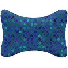 Blue Polka Dots Pattern Seat Head Rest Cushion by SpinnyChairDesigns