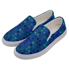 Blue Polka Dots Pattern Men s Canvas Slip Ons by SpinnyChairDesigns