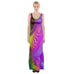 Psychedelic Swirl Trippy Abstract Art Thigh Split Maxi Dress