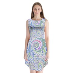 Colorful Pastel Floral Swirl Watercolor Pattern Sleeveless Chiffon Dress
