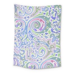 Colorful Pastel Floral Swirl Watercolor Pattern Medium Tapestry by SpinnyChairDesigns