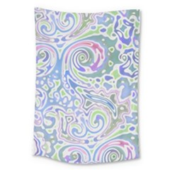 Colorful Pastel Floral Swirl Watercolor Pattern Large Tapestry by SpinnyChairDesigns