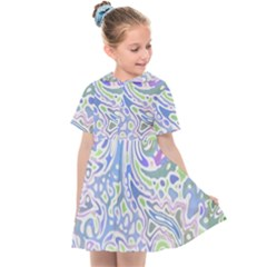 Colorful Pastel Floral Swirl Watercolor Pattern Kids  Sailor Dress