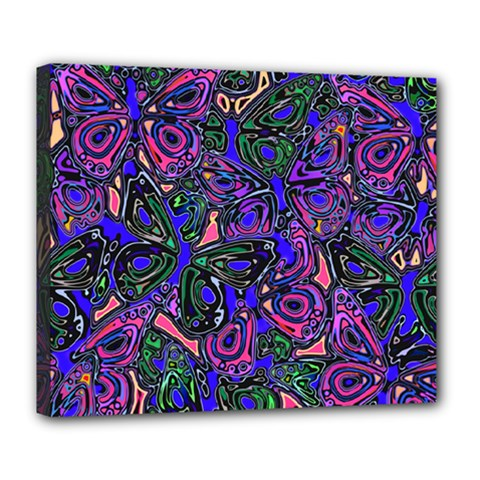 Purple Abstract Butterfly Pattern Deluxe Canvas 24  X 20  (stretched) by SpinnyChairDesigns