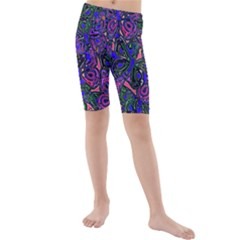 Purple Abstract Butterfly Pattern Kids  Mid Length Swim Shorts