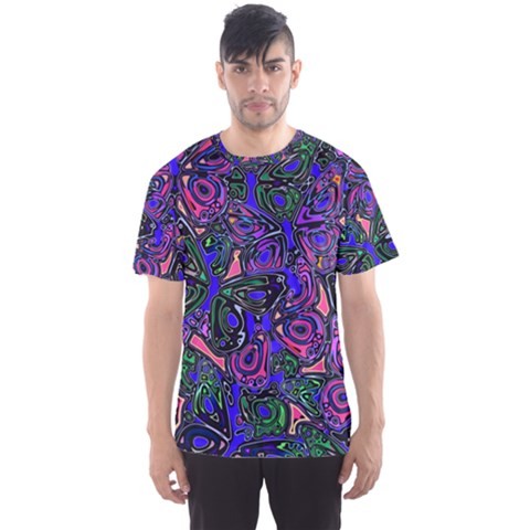 Purple Abstract Butterfly Pattern Men s Sport Mesh Tee by SpinnyChairDesigns