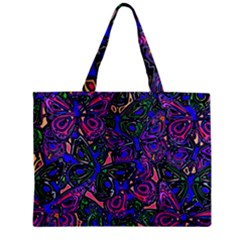 Purple Abstract Butterfly Pattern Zipper Mini Tote Bag by SpinnyChairDesigns