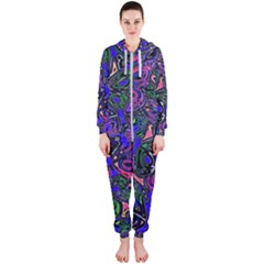Purple Abstract Butterfly Pattern Hooded Jumpsuit (ladies)  by SpinnyChairDesigns