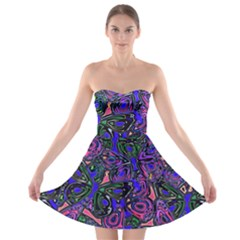 Purple Abstract Butterfly Pattern Strapless Bra Top Dress by SpinnyChairDesigns