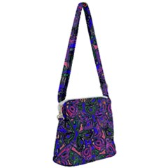 Purple Abstract Butterfly Pattern Zipper Messenger Bag by SpinnyChairDesigns