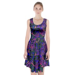 Purple Abstract Butterfly Pattern Racerback Midi Dress by SpinnyChairDesigns