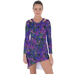 Purple Abstract Butterfly Pattern Asymmetric Cut-out Shift Dress by SpinnyChairDesigns