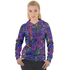 Purple Abstract Butterfly Pattern Women s Overhead Hoodie