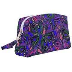 Purple Abstract Butterfly Pattern Wristlet Pouch Bag (large) by SpinnyChairDesigns