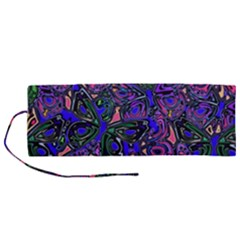 Purple Abstract Butterfly Pattern Roll Up Canvas Pencil Holder (m)