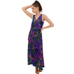 Purple Abstract Butterfly Pattern V-neck Chiffon Maxi Dress by SpinnyChairDesigns