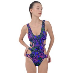 Purple Abstract Butterfly Pattern Side Cut Out Swimsuit by SpinnyChairDesigns