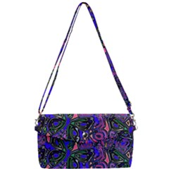 Purple Abstract Butterfly Pattern Removable Strap Clutch Bag by SpinnyChairDesigns