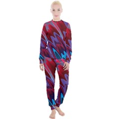 Red Blue Zig Zag Waves Pattern Women s Lounge Set by SpinnyChairDesigns