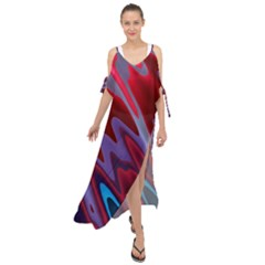 Red Blue Zig Zag Waves Pattern Maxi Chiffon Cover Up Dress