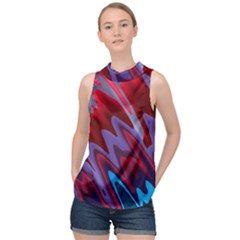 Red Blue Zig Zag Waves Pattern High Neck Satin Top by SpinnyChairDesigns