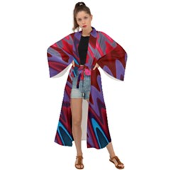 Red Blue Zig Zag Waves Pattern Maxi Kimono by SpinnyChairDesigns