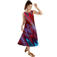 Red Blue Zig Zag Waves Pattern Summer Maxi Dress