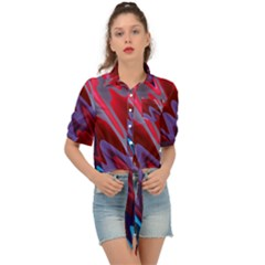 Red Blue Zig Zag Waves Pattern Tie Front Shirt