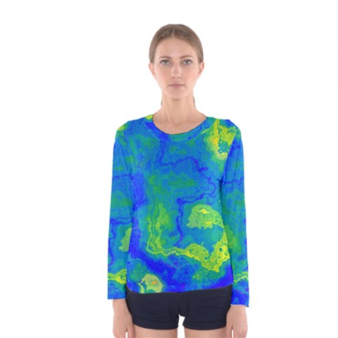 Neon Green Blue Grunge Texture Pattern Women s Long Sleeve Tee by SpinnyChairDesigns
