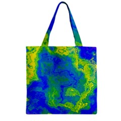 Neon Green Blue Grunge Texture Pattern Zipper Grocery Tote Bag by SpinnyChairDesigns