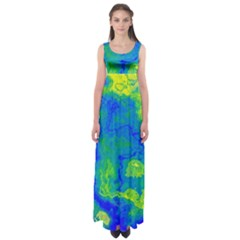 Neon Green Blue Grunge Texture Pattern Empire Waist Maxi Dress by SpinnyChairDesigns