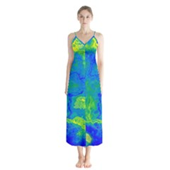 Neon Green Blue Grunge Texture Pattern Button Up Chiffon Maxi Dress by SpinnyChairDesigns