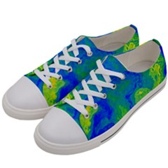 Neon Green Blue Grunge Texture Pattern Women s Low Top Canvas Sneakers by SpinnyChairDesigns
