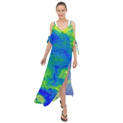 Neon Green Blue Grunge Texture Pattern Maxi Chiffon Cover Up Dress by SpinnyChairDesigns