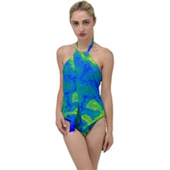 Neon Green Blue Grunge Texture Pattern Go With The Flow One Piece Swimsuit by SpinnyChairDesigns