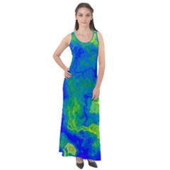 Neon Green Blue Grunge Texture Pattern Sleeveless Velour Maxi Dress by SpinnyChairDesigns