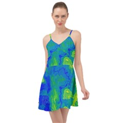 Neon Green Blue Grunge Texture Pattern Summer Time Chiffon Dress