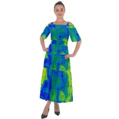 Neon Green Blue Grunge Texture Pattern Shoulder Straps Boho Maxi Dress  by SpinnyChairDesigns