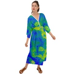 Neon Green Blue Grunge Texture Pattern Grecian Style  Maxi Dress by SpinnyChairDesigns