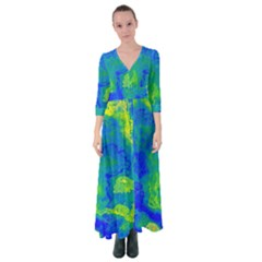 Neon Green Blue Grunge Texture Pattern Button Up Maxi Dress by SpinnyChairDesigns