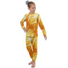 Gold Flames Pattern Kids  Long Sleeve Set