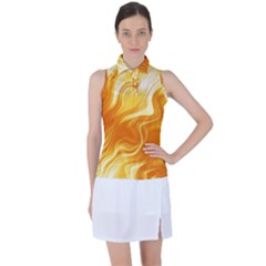 Gold Flames Pattern Women s Sleeveless Polo Tee