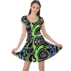 Green And Black Abstract Pattern Cap Sleeve Dress by SpinnyChairDesigns